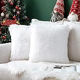 MIULEE Noël Lot de 2 Housse de Coussin de Canapé Fourrure de Decoration canapé Maison Chambre Lit Super Doux Peluche Taie d'oreiller Décorative 40X40cm 16X16 Pouces Blanc