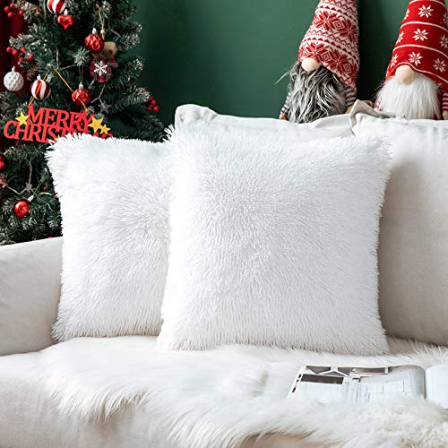 MIULEE Pack of 2 Christmas Faux Fur Throw Pillow Cover Fluffy Soft Decorative Square Pillow covers Plush Case Faux Fur Cushion Covers For Livingroom Sofa Bedroom 24 x 24 Inch 60 x 60 cm White