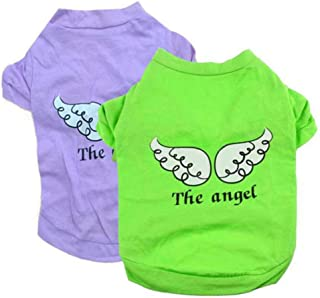 Fudule Pet Clothes for Dog,Dog Angel Printed Vest Shirt Clothing for Pet Cats Dogs Summer Puppy Doggy Apparel Costume
