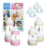 MAM Essential Bottle Set, regalos para bebés de +2 meses, con 2 biberones anticólicos Easy Start (260 ml), 2 cuerpos de biberón (320 ml) y 4 tetinas (2x T3 + 2x TX), NIÑA (Girl)