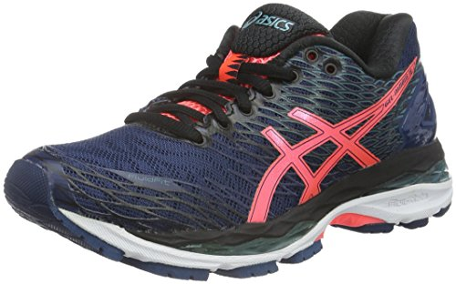 Asics Nimbus 18, Zapatillas de Entrenamiento para Mujer, Azul (Poseidon/Flash Coral/Black), EU
