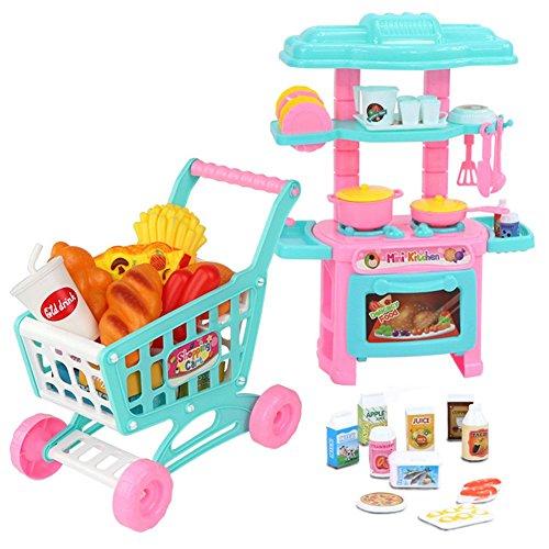 ykw Juguetes educativos para niños, Mini vajilla de simulación para niños, Carrito de Compras, Juego de simulación, Utensilios de Cocina, Juguetes para Alimentos, Regalo Ideal para niños, Amigos