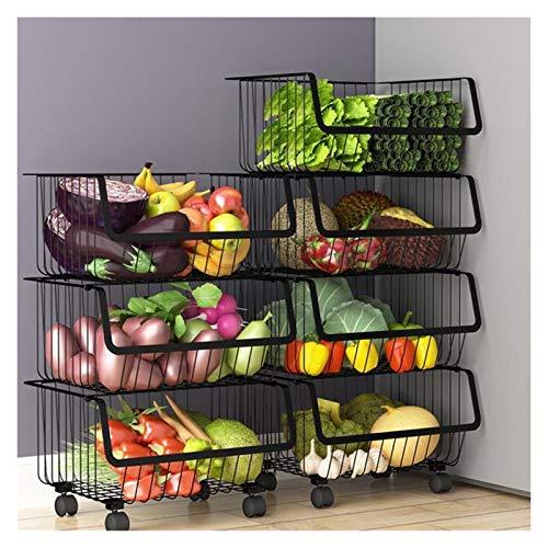WJCRYPD Edelstahl Multi Layer Haushalt Küche Lagerkorb Gemüse Bodenständer Mit Rad Lagergestell Qf Shop (Color :...