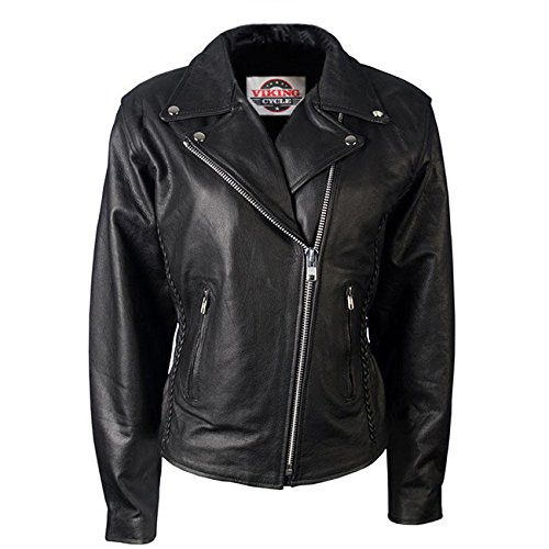 Viking Cycle Classic Cruise Cowhide Motorcycle Leather Biker Jacket for Women (Black, Small)