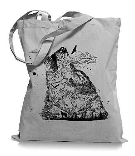 Ma2ca Wolf Mountain Stoffbeutel |Rettet die Wölfe Tragetasche -light_grey