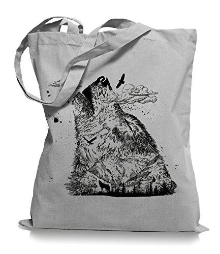 Ma2ca Wolf Mountain Stoffbeutel  Rettet die Wölfe Tragetasche -light_grey