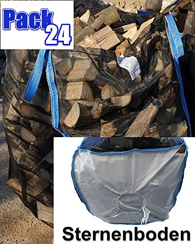 7 Stück Hochwertiger Premium Big Bag für Holz Brennholz Kaminholz Holzbag Woodbag Brennholzsack Netz Big Bag 100 * 100 * 120cm mit Sternboden