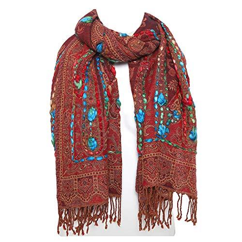 Casa Moro Orientalischer XXL Schal Langschal 22A 70x180 cm aus 100% Wolle Premium-Qualität   Handmade Pashmina mit Paisley-Muster & handgenäht   Winter-Schal aus Naturfaser   A902C22A