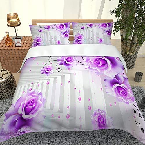 Chickwin Bettwäsche Set 3D, Rose Blume Drucken Mikrofaser Bettwäsche-Set 3 Teilig mit Reißverschluss Bettbezug & Kissenbezug für Einzelbett Doppelbett (Lila,135x200cm)