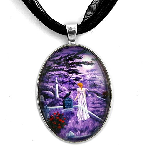 Edgar Allan Poe Jewelry Necklace Raven Pendant Ghost Woman Lenore Lavender Moon Crow Red Roses