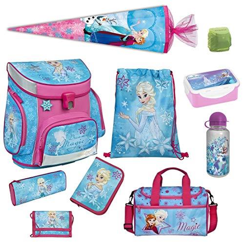 Familando Disney die Eiskönigin ELSA Schulranzen-Set 10-TLG. Scooli Campus Fit Frozen Magic mit Sporttasche Federmappe Schultüte 85 cm und Regenschutz