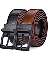 "Beltox Men's Belts Dress Casual Reversible Leather 1.1"" w Roller Buckle Rotated(Black/Brown w Black Buckle, 44-46)"