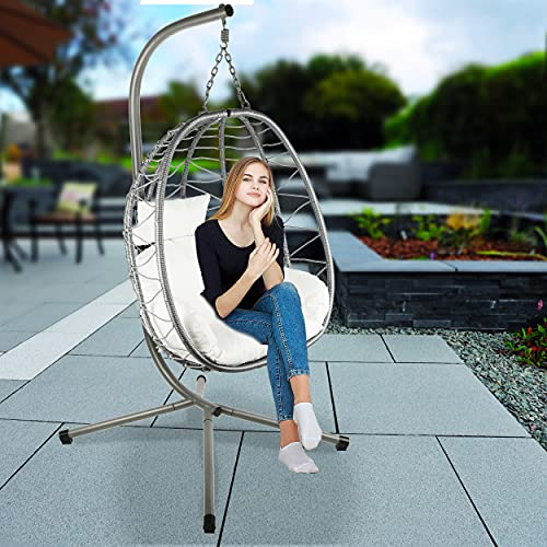 Divine Style Premium Collapsible (Easy Storage) Rattan, Rope & Steel Hanging Egg Chair Swing with Stand for Garden or Indoor (Urban Grey)