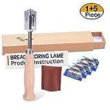MIXC Bäckermesser, Baguettemesser mit 5pcs Rasierklinge, Teigmesser, Bretzelmesser, Ritzmesser zum Einschneiden von Baguette, Brot oder Brötch mit Authentic Lederschutzhülle