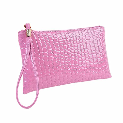 Damen Clutch Piebo Frauen Tasche Abendtasche Krokodil Muster PU Leder Envelope Handtasche Schultertasche Unterarmtasche Damentasche (Violett)