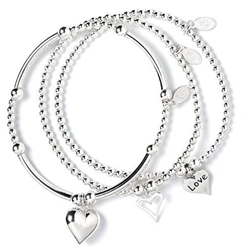 bumble beads Set of 3 Sterling Silver 'Rice & Noodle' Ball Bead Bracelets- Open Heart, Love Heart and Puffy Heart