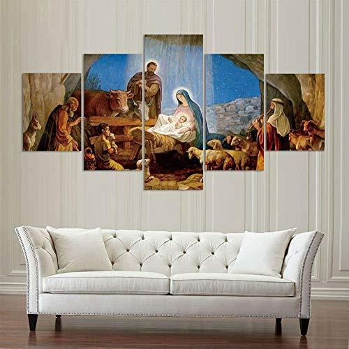 GMSM 5 Piezas de Lienzo Arte Mural El Nacimiento de Jesus Pinturas de Lienzo de Año Nuevo Pinturas de Lienzo de Arte de Pared para la Sala de Estar Decoración
