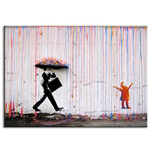 Abstrakt Leinwanddruck Banksy Regenschirm Regentag Kinder Erwachsene Bilder Wandkunst Dekoration Rahmenlose,50cmx70cm