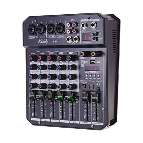 Muslady 6 Canales Consola de mezclado Tarjeta de Sonido Mezclador de Audio DSP 16 Incorporado Alimentación Phantom de 48V Admite Conexión BT Reproductor de MP3 Grabación
