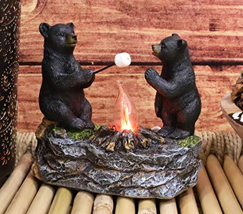 Ebros Whimsical Rustic Forest Black Bears Father and Son Making Marshmallow Smores by Bonfire...