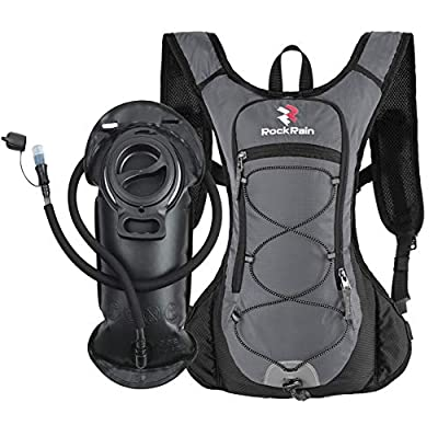 ROCKRAIN Windrunner Lightweight Hydration Pack with 2L BPA Free Water Bladder - Keeps Liquid Cool up to 4 Hours, Outdoor Sports Gear for Running, Cycling, Hiking, Biking, Camping (Grey)
