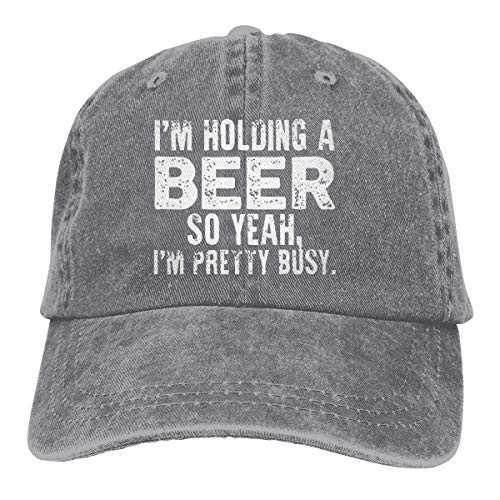 I'm Holding A Beer So Yeah I'm Pretty Busy Funny Women Baseball Hat Men Trucker Dad Cap Adjustable for Running Golf Workout