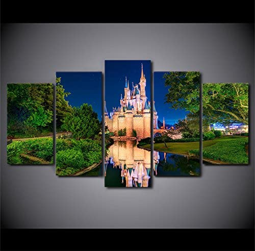 Disney Castle at Night Canvas Ranking TOP1 Wall Limited Special Price Art Size 2: Panel Framed 5
