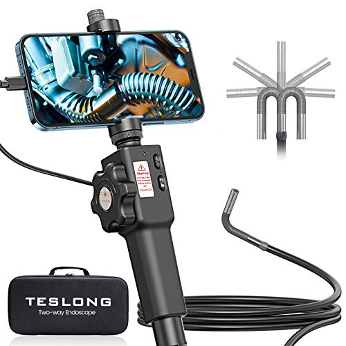 Teslong HD Endoskopkamera mit Einer 180° drehbaren Kamerasonde, Industrie Endoskop mit 8 Einstellbare LED-Leuchten, 8,5mm Durchmesser Inspektionskamera, Bilder und Videos aufnehmen (3.3 FT)