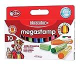 Fibracolor Megastamp confezione 10 pennarelli stampino misura maxi disegni assortiti super...