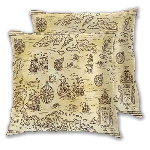 CONICIXI 2 Pack Funda de Almohada Antiguo Mapa Pirata del mar Caribe con Barcos Lino Suave Cuadrado Sofá Cama Decoración Hogar para Cojín 45cm x 45cm