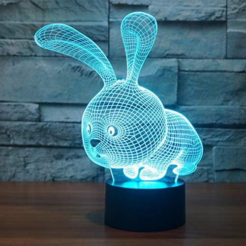 3D Lámpara óptico Illusions Luz Nocturna, EASEHOME LED Lámpara de Mesa Luces de Noche para Niños Decoración Tabla Lámpara de Escritorio 7 Colores Cambio de Botón Táctil y Cable USB, Conejo