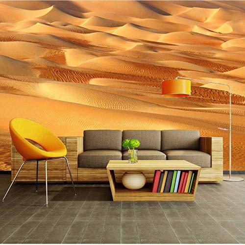 Fotobehang op maat 3D niet-geweven stof milieuvriendelijk en duurzaam behang muursticker-gouden woestijn 350(w)x256(H)cm