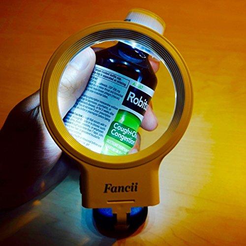 Fancii 10 LED Licht Beleuchtete Lupe mit Ständer, 2X 4X Große Leselupe Tischlupe Vergrößerungsglas mit Beleuchtung für Senioren Lesen, Inspektion, Löten, Handarbeiten, Reparatur & Hobby - 7
