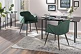 AVANTEX Juego de 2 sillas tapizadas de Terciopelo, diseño Retro, Patas de Metal en imitación de Madera con Revestimiento de Terciopelo y Acolchado de Espuma, Color Verde