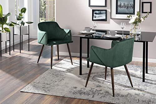 AVANTEX Juego de 2 sillas de Estilo Retro, tapizadas, de Terciopelo, con Patas de Metal en imitación de Madera y tapizado de Espuma, Color Verde