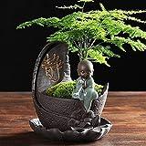 Jambala Petit Monk Noir Vase Bouddha Vase de Fleur de Bouddha avec Personnalité Creative Personnalité Classical Chinois Succulent Pot (Color : A)