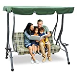 Zupapa 3-Person Steel Porch Canopy Swing Seat with Stand, Adjustable Canopy Soft...