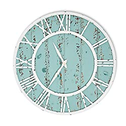 Coastal Shiplap Wall Clock - 24 Inch - White Metal Frame - Roman Numerals - Beach Kitchen - Colorful Decorative Clock - Rustic - Silent Ticking - Wooden Nautical Home