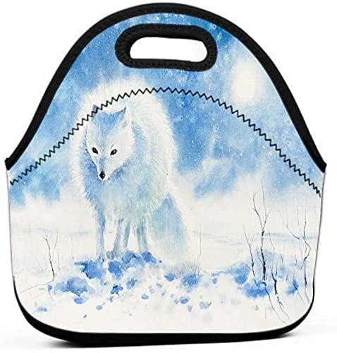 Bolsa de almuerzo para mujer, acuarelas de zorro polar con aislamiento de agua / a prueba de fugas pintadas en color imagen de día de invierno creada magnífica
