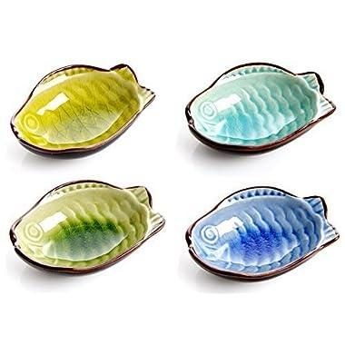 Astra shop 4PC Fish Shape Porcelain Serving Saucers Bowl Sauce Dishes Sushi Appetizer Plates Japanese Style Dinnerware Set