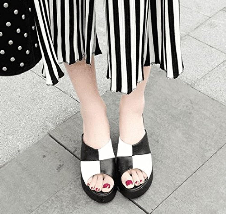 AWXJX Sommersaison Frauen Flip Flops High Heel Fein mit äußeren Verschleiß Wasserdicht Schwarz 6 US 36 EU 3.5 UK  | Maßstab ist der Grundstein, Qualität ist Säulenbalken, Preis ist Leiter  | Verrückter Preis, Birmingham