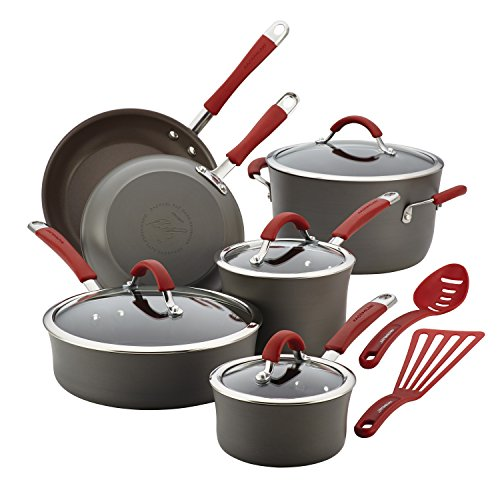 Rachael Ray Cucina Hard Anodized Nonstick Cookware Pots and Pans Set 12 Piece Gray with Red Handles