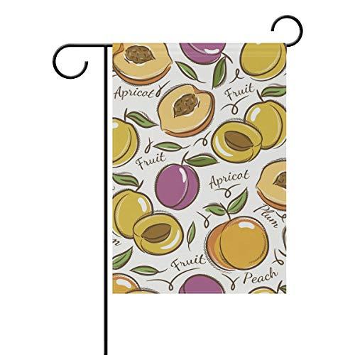 MALPLENA Abricot et de Prune Drapeau Jardin Premium résistant aux moisissures Jardin Drapeau, Polyester, 1, 12x18(in)