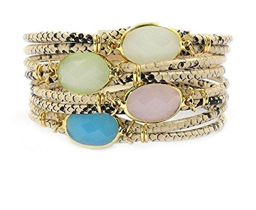 Ty-BLACK1 Bracelets ty-black1Fashion snake-print bracciale in pelle, pietra, cristallo di Boemia bracciali & Banglesjewelry e NA, colore: 19cm, cod. SB-122