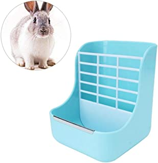 Rabbit Hay Feeder, AUOKER Bite Resistant Reduce Waste Hanging Rabbit Hay Rack Manger, Double Use Small Pets Hay Holder Food Bowl for Rabbit Guinea Pig Chinchilla and Other Small Animals
