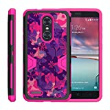 TurtleArmor | Compatible with ZTE ZMax Pro Case | ZTE Blade X Max Case [Clip Caliber] High Impact Shockproof Silicone Armor Kickstand Holster Belt Clip Pink Case - Pink Purple Flowers