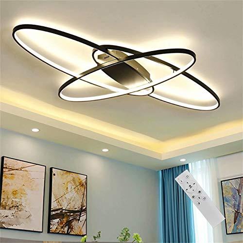 Lámpara LED de Techo de 58 W Regulable Lámpara de Salón con Mando a Distancia Pantalla Acrílica Lámpara de Comedor Lámpara Colgante de Diseño Moderno Ovalado Lámpara de Comedor Dormitorio Baño Decor