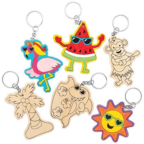 Baker Ross Porte-clés plage tropicale en bois (Paquet de 10)-Loisirs créatifs à thème pour enfants