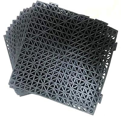 "12 Pack Modular Interlocking Cushion 11.5"" x 11.5"" Mat Floor Tile Mats Drain Pool Patio Balcony Yard Pet Area Washer Pad(Black)"