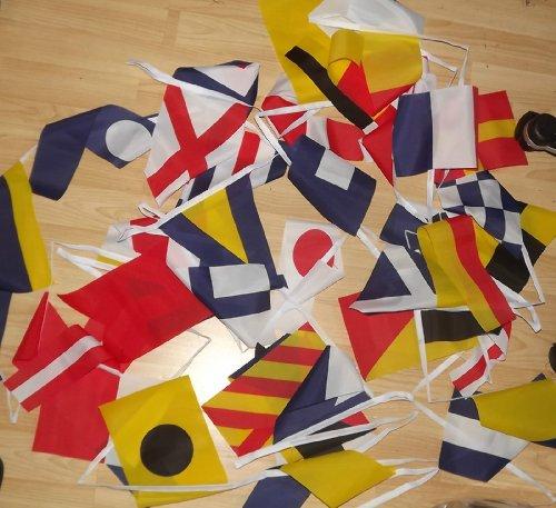 AZ FLAG FAHNENKETTE FLAGGENALPHABET 13 Meter mit 40 flaggen 21x14cm- SIGNALTABELLE Girlande Flaggenkette 14 x 21 cm